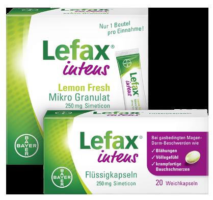 Lefax® intens bei gasbedingten Beschwerden wie  Bauchschmerzen, Bauchkrämpfen und Druckgefühl.